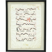 Musical Antique Latin Manuscript on Vellum, Hand Painted Late 1600's, Framed