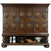 Oak 1910 Antique Cabinet, Carved Armorial Crests, Spiral Columns