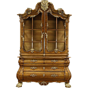 Baroque Bombe Antique 1910 China or Curio Display Cabinet, Italy