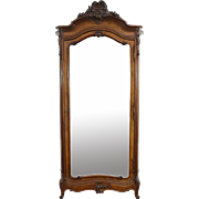 French 1890 Antique Carved Armoire, Wardrobe or Closet, Beveled Mirror