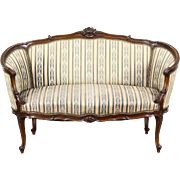 French Louis XIV Hand Carved Walnut 1920 Antique Salon Settee or Loveseat
