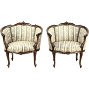 Pair of French Louis XIV Hand Carved Walnut 1920 Antique Salon Chairs