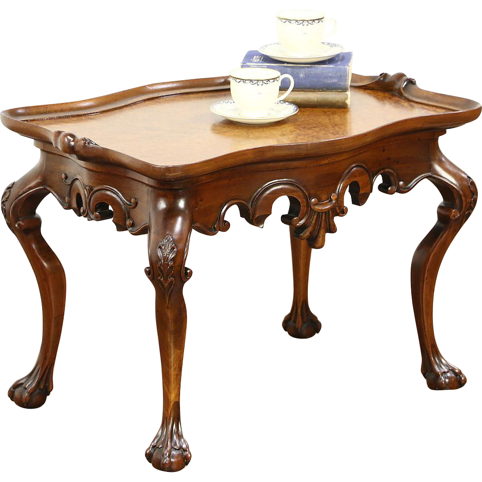 Carved mahogany coffee table curly birdseye maple top for Mahogany coffee table