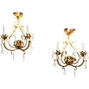 Pair of Italian Florentine Gold Vintage Wall Sconce Lights, Crystal Prisms