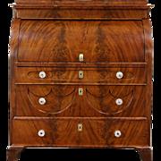 Biedermeier 1825 Antique Austrian Roll Top Secretary Desk, Secret Compartments