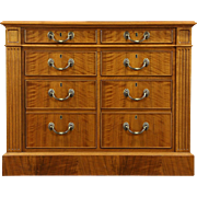Custom Walnut 6 Drawer Vintage Lateral Executive Office File Cabinet