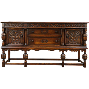English Tudor 1920 Antique Carved Oak Sideboard, Server or Buffet