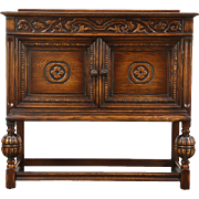 English Tudor Style 1920 Antique Carved Oak Huntboard, Server or Sideboard
