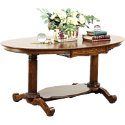 Classical 1900 Antique Oval Oak Partner Library Desk or Hall Table