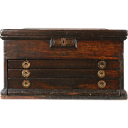Oak 1890 Antique 3 Drawer Machinist Tool Box, Collector or Jewelry Chest