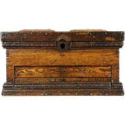 Oak Antique 1890 Primitive Tool Box, Collector or Jewelry Chest, Brass Screws