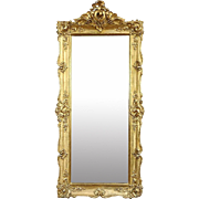 Victorian Antique 1850 Mirror, Carved Gold Frame with Grapevine Motif