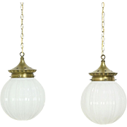 Pair 1910 Antique Brass Store Light Fixtures, Embossed Milk Glass Globes