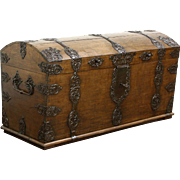 Oak & Wrought Iron 1750 Antique Pirate Trunk, Dowry or Blanket Chest, Germany