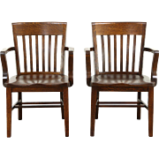 Pair of Quarter Sawn Antique 1910 Oak Office or Library Banker Chairs