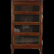 Mahogany 4 Stack Antique 1910 Lawyer Bookcase, Signed Globe Sheraton Line