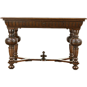 Renaissance Design Carved Oak Antique European Library Table or Writing Desk