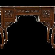 Country French Carved Walnut 1950's Vintage Desk, Signed Smythe of Chicago
