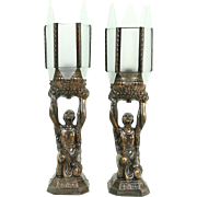 Pair Art Deco 1930's Vintage Young Woman Sculpture Lamps