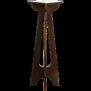 Arts & Crafts Antique Plant Stand or Craftsman Artwork Pedestal, Copper Inlay