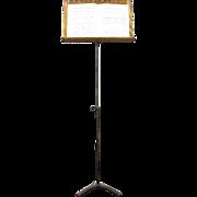 Music Stand, Antique 1915 Adjustable Iron & Oak, Signed Hamilton
