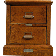 Oak Small Antique 2 Drawer File Cabinet, Pat. Brown of St. Paul
