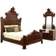 Victorian Renaissance Antique Walnut 2 Pc. Bedroom Set, Queen Size Bed