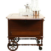 Bar, Beverage or Liquor Antique Mahogany Trolley Cart, Silverplate Shaker