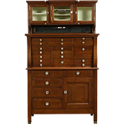 Oak Dentist Antique 1900 Dental, Jewelry or Collector Cabinet, 21 Drawers