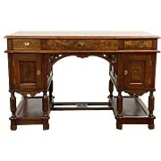 Victorian Eastlake Carved Walnut  & Burl 1880 Antique Library Desk