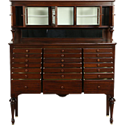 Dentist, Jewelry or Collector Cabinet, Mahogany 1915  Dental Antique, 21 Drawers