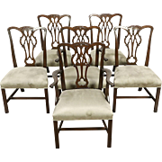 Kittinger Signed Set of 6 Vintage Mahogany Georgian Dining Chairs New Upholstery