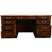 Traditional Vintage Custom Walnut Executive Office Desk, Tooled Leather Top