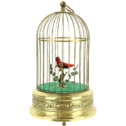 Singing Song Bird in Brass Cage, 1930's Vintage Germany