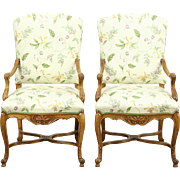 Pair of Country French Carved Beech Chairs, Newly Upholstered