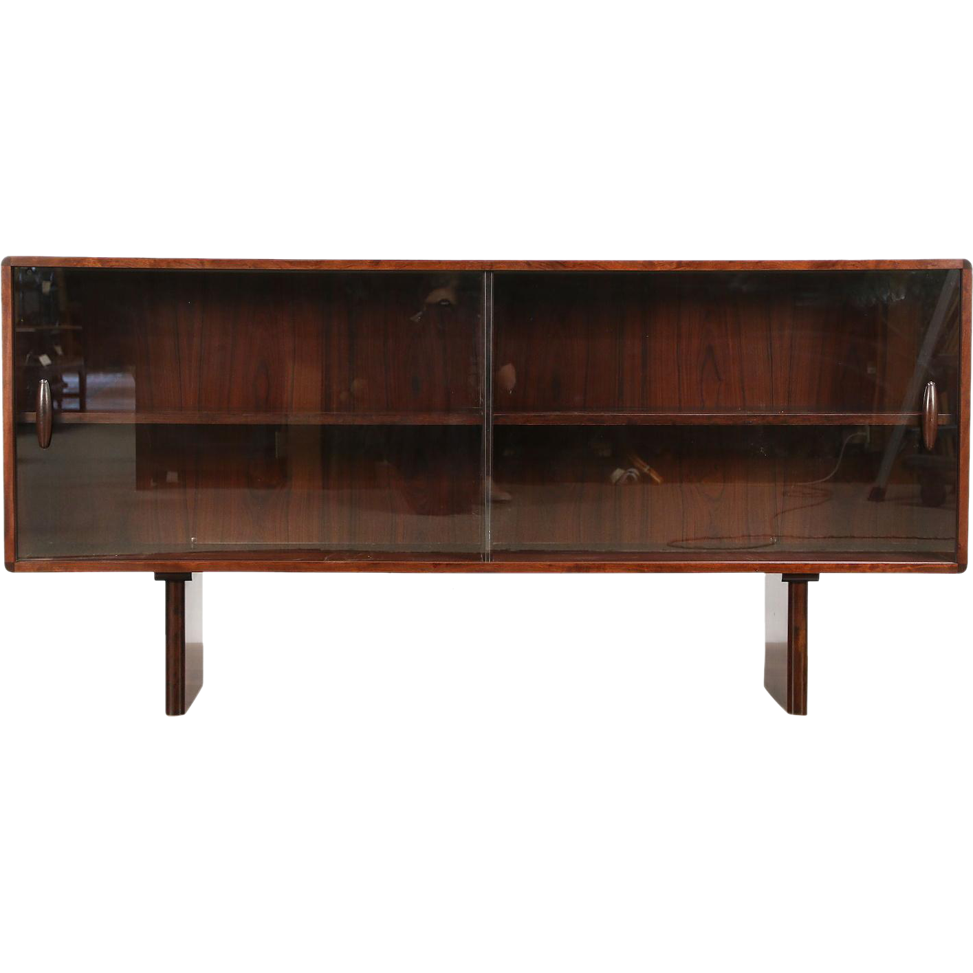 Rosewood Midcentury Modern Vintage Bookcase, China Cabinet or TV Console Cabinet