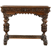 Oak Antique 1880 Library or Hall Table Writing Desk, Carved Dolphins & Gargoyles