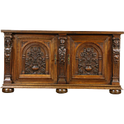 Oak Dutch Antique 1900 Sideboard, Server, Buffet or TV Console, Carved Figures