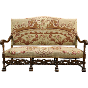 Carved Oak French Antique Hall Bench, Settee or Sofa, Needlepoint Upholstery