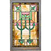 Victorian Antique 1890 Leaded Stained Glass Window, Architectural Salvage