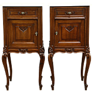 Pair of Country French Antique 1915 Carved Walnut Nightstands, Marble Tops