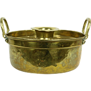 Brass Antique Cooking Pot with Steamer or Strainer, Signed SOD