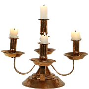 Copper Hand Hammered 5 Candle Candelabra