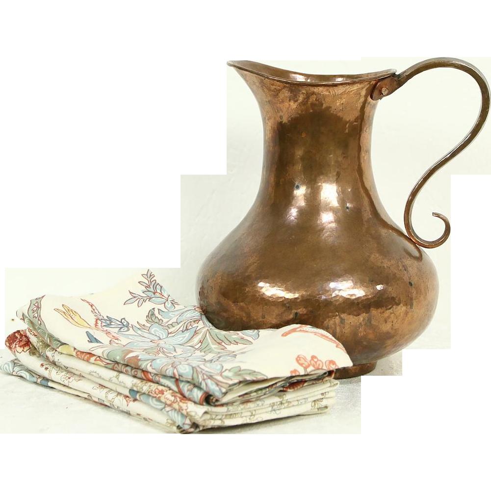 Copper Hand Hammered Jug or Pitcher, Turkey