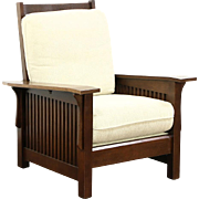 Arts & Crafts Mission Oak Vintage Morris Craftsman Recliner Chair, Bassett