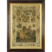 Cross Stitch Tapestry, Rosewood Frame, Signed Eliza Coggs, 1850 England
