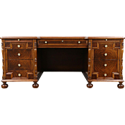 Walnut & Burl 1940's Vintage Library or Executive Desk, Signed Lyfetime, Chicago