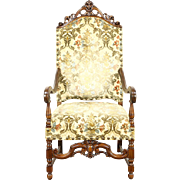 Carved Antique 1915 Hall or Throne Chair