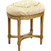 French 1900 Antique Oval Bench or Footstool, Needlepoint Birds