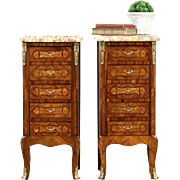 Pair of French Rosewood Marquetry Vintage Nightstands or End Table, Marble Tops